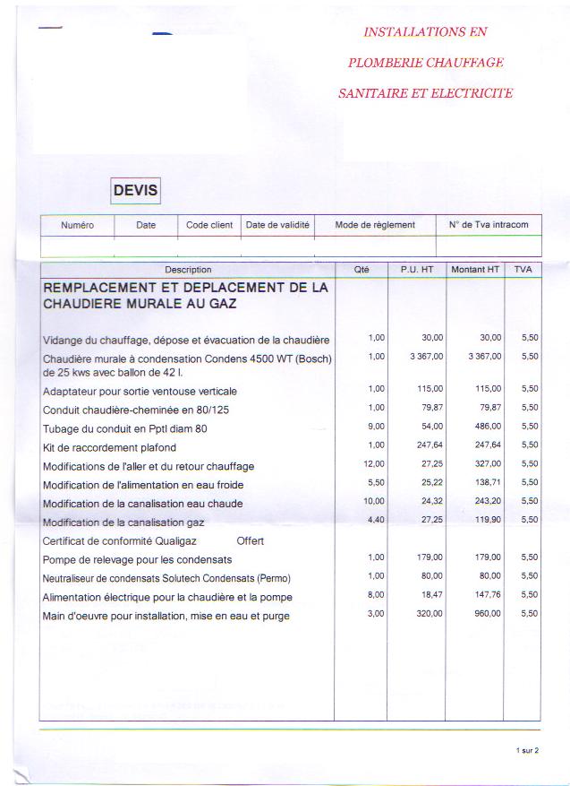 tarif entretien chaudière gaz condensation